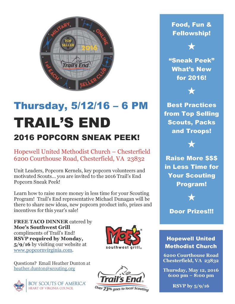 2016 Trail's End Popcorn Sneak Peek