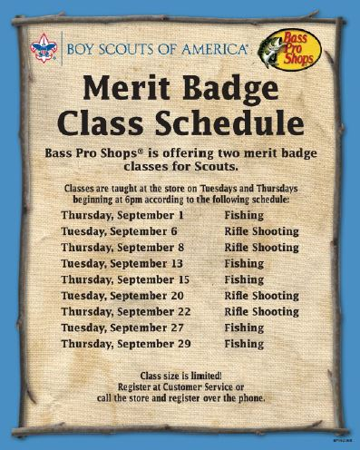Bass Pro Shop Meritbadge Schedule