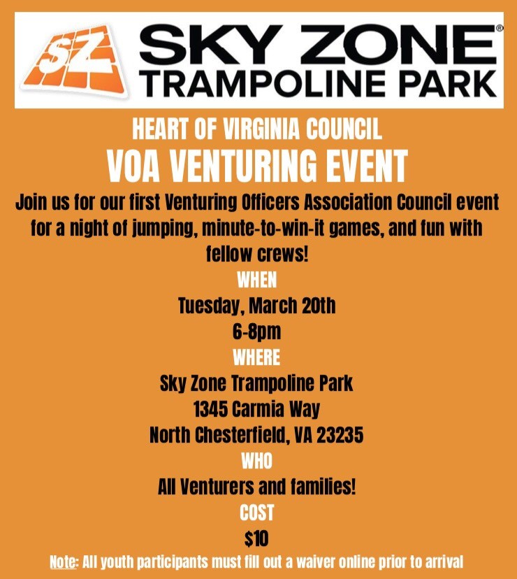 photo regarding Printable Sky Zone Waiver called SKY ZONE 1st VOA Council Occasion